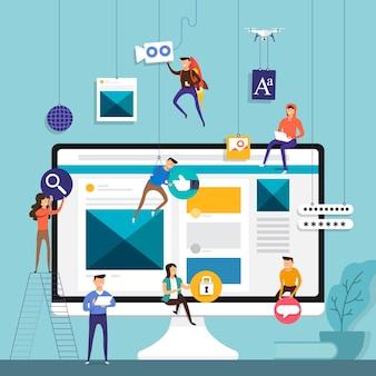 Zespół koncepcyjny pracujący nad budową aplikacji społecznościowych na urządzenia mobilne. zilustrować.