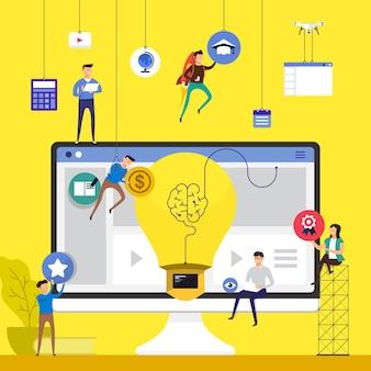 Zespół koncepcyjny pracujący nad budowaniem kursów online e-learning na komputerze. zilustrować.