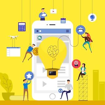 Zespół koncepcyjny pracujący nad budowaniem kursów online e-learning na urządzeniach mobilnych. zilustrować.