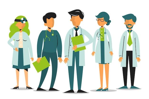 Zespół lekarza. pracownik medyczny w mundurze stojąc razem.