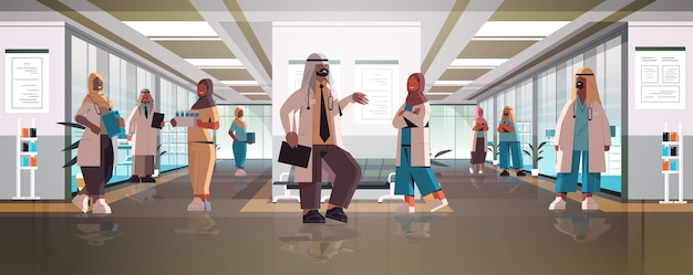 Zespół lekarzy arabskich w mundurze dyskusji podczas spotkania w szpitalnym korytarzu medycyna koncepcja opieki zdrowotnej poziomej pełnej długości ilustracji wektorowych