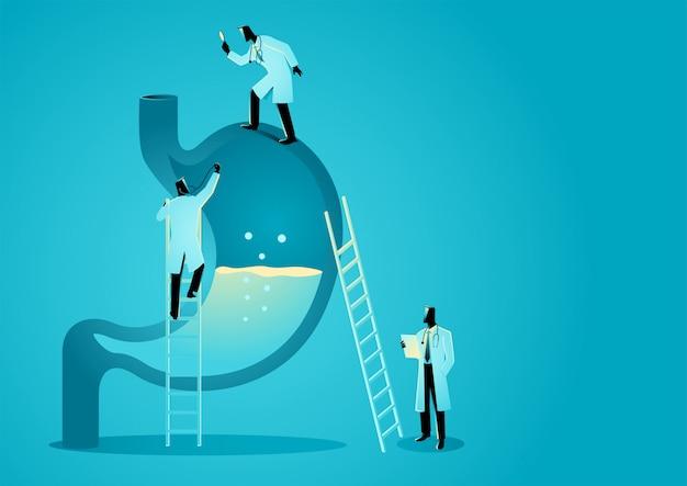 Zespół lekarzy diagnozuje ludzki żołądek