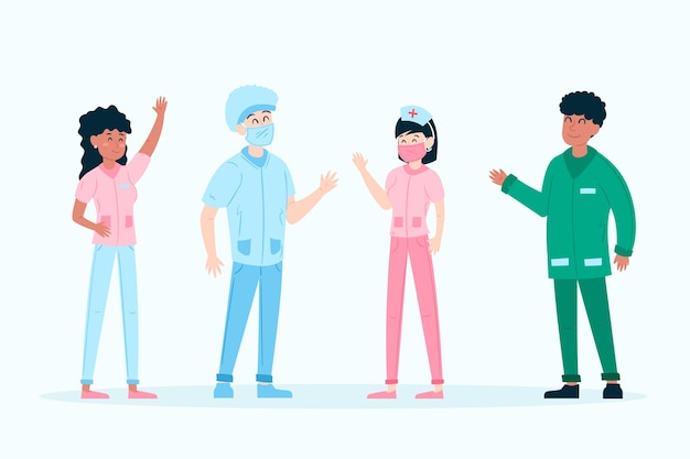 Zespół lekarzy i pielęgniarek pracujących razem