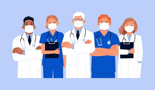 Zespół lekarzy i pielęgniarek w maskach medycznych. grupa pracowników służby zdrowia podczas epidemii koronawirusa. dzięki za uratowane życia. ilustracja wektorowa w stylu płaski