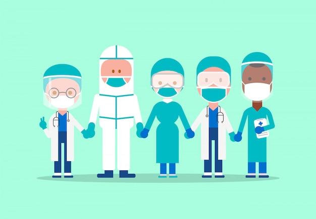 Zespół lekarzy i pracowników medycznych, trzymając się za ręce razem. zwalczanie wirusa covid-19. postać z kreskówki.