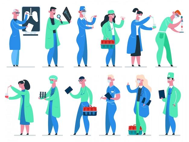 Zespół lekarzy. lekarz szpitala medycyny, lekarz medycyny, pracownicy służby zdrowia w zestaw ikon ilustracji płaszcza medycznego. zawód lekarza, specjalista medycyny