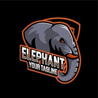 Zespół logo e-sportu gier słoni zwierząt