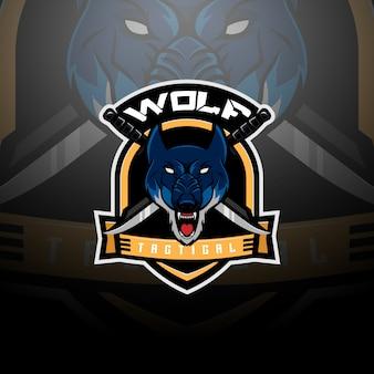 Zespół logo taktycznego z głową wilka