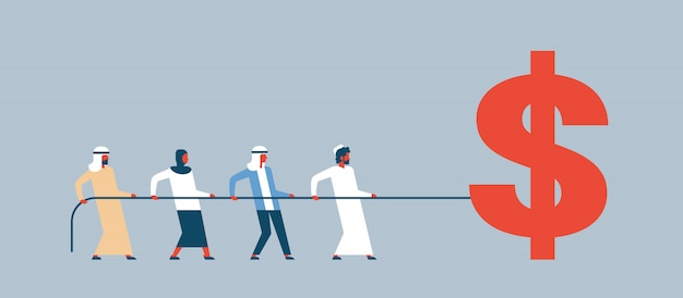 Zespół ludzi arabskich ciągnięcie liny ikona dolara bogactwo koncepcja wzrostu