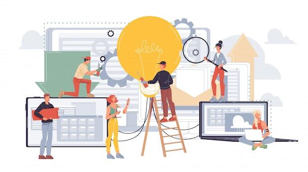 Zespół ludzi biurowych pracujących nad udoskonalaniem pomysłów