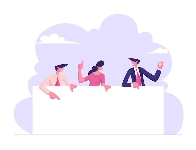 Zespół ludzi biznesu trzymając pustą deskę ilustracja
