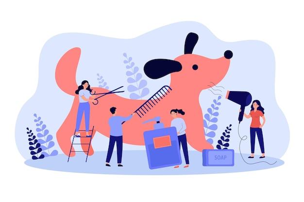 Zespół małych domowych fryzjerów pielęgnujących psa w salonie