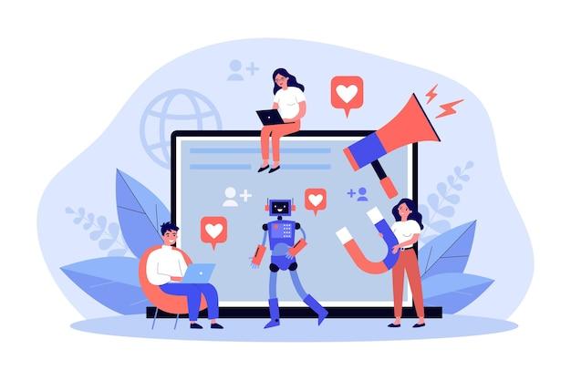 Zespół marketerów tworzących wirusowe treści w mediach społecznościowych. drobni ludzie trzymający megafon i magnes, pracujący razem online. koncepcja marketingu cyfrowego dla banera, projektu strony internetowej lub strony docelowej