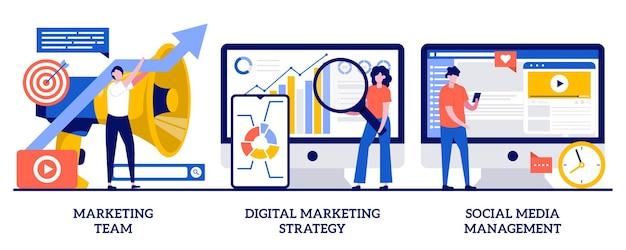 Zespół marketingowy, strategia marketingu cyfrowego, koncepcja zarządzania mediami społecznościowymi z małymi ludźmi. zestaw ilustracji streszczenie strategii rozwoju kampanii. smm, wgląd w markę, kanały online.