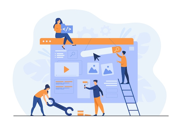 Zespół marketingu cyfrowego konstruujący landing lub stronę główną.