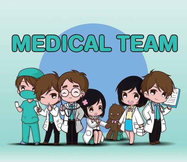 Zespół medyczny,. śliczna postać z kreskówki lekarka.