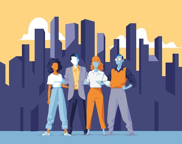 Zespół międzynarodowy. grupa młodych profesjonalistów przeciwko miejskim