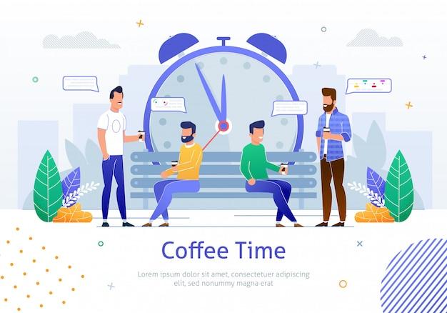 Zespół młodych pracowników mających krótki czas przerwy w dniu roboczym