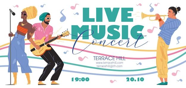 Zespół muzyczny postaci, jazz, rock, blues stylowy baner plakat koncepcja internetowa online.