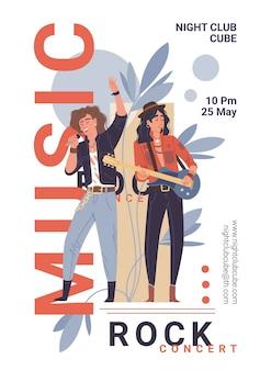 Zespół muzyczny postaci na żywo rock, jazzowy stylowy baner plakat koncepcja internetowa online.