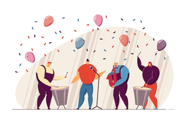 Zespół muzyczny występujący na imprezie płaskiej ilustracji wektorowych. muzycy śpiewający, grający na saksofonie i bębnie na scenie. uroczystość, koncepcja wydajności banera, projektu strony internetowej lub strony docelowej