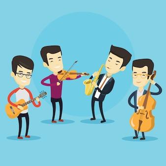 Zespół muzyków grających na instrumentach muzycznych.