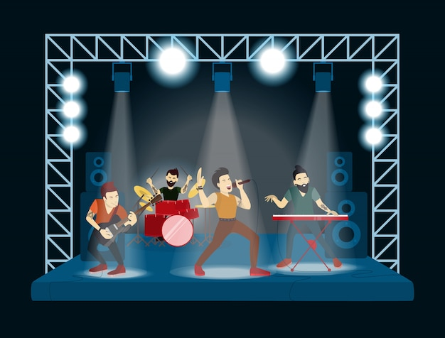 Zespół na koncercie. piosenkarze i muzycy rockowi.
