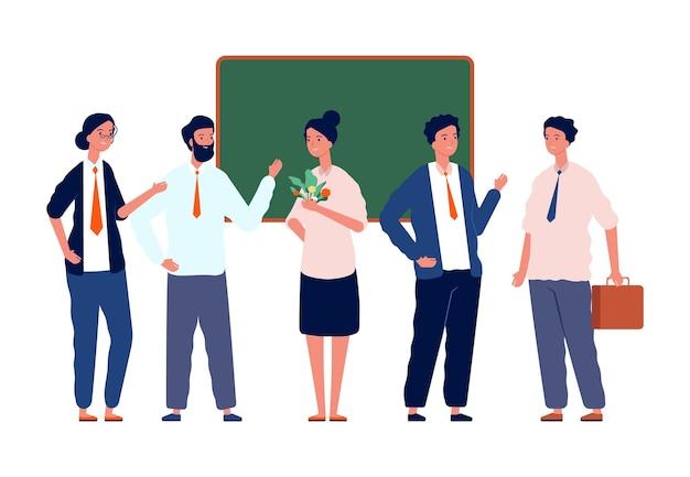 Zespół nauczycieli. wracając do szkoły, profesorowie tłoczą się przy tablicy. liderzy zespołów lub trenerzy, studiujący na studiach lub na uniwersytecie. ilustracja wektorowa dzień nauczyciela. zespół szkoły nauczyciela ned tablica