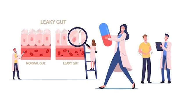 Zespół nieszczelnego jelita. małe postacie lekarzy prezentujące różnicę zdrowe i zapalne komórki jelitowe. porównanie prawidłowej i chorej tkanki przewodu pokarmowego. ilustracja wektorowa kreskówka ludzie