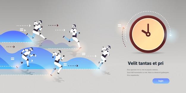 Zespół nowoczesnych robotów biegnie, aby zarządzać czasem, konkurencja technologia sztucznej inteligencji