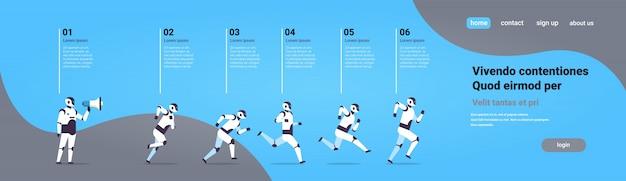 Zespół nowoczesnych robotów kolejny szef trzymać megafon technologii sztucznej inteligencji koncepcja infographic szablon