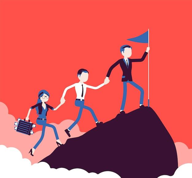 Zespół odnoszących sukcesy biznesmenów zdobywających szczyt górskiego rynku. firma realizująca zamierzony cel, aby osiągnąć najwyższy, najwyższy punkt zysku, wynik na starcie. ilustracja, postacie bez twarzy