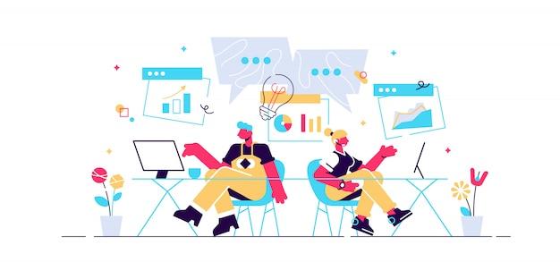 Zespół opracowujący koncepcję, proces projektowania, burza mózgów ludzi na stronę internetową, baner, media społecznościowe, dokumenty. ilustracja aplikacja mobilna tworzenie stron internetowych, praca zespołowa, uruchomienie, projekt