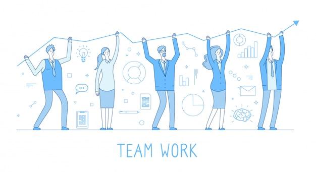 Zespół outsourcingowy. biznes człowiek, zespół kobiet, przedsiębiorcy z wykresu wzrostu i lider. koncepcja linii dobrobytu niebieski kolor