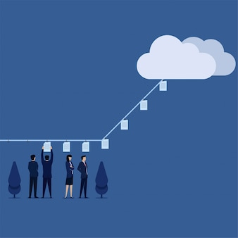 Zespół płaski biznes wektor położył papiery na linę wysłać do chmury metafora wysyłania plików online.