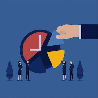 Zespół płaskie wektor biznes koncepcja umieścił kawałek ciasta do zegara metafora zarządzania czasem.