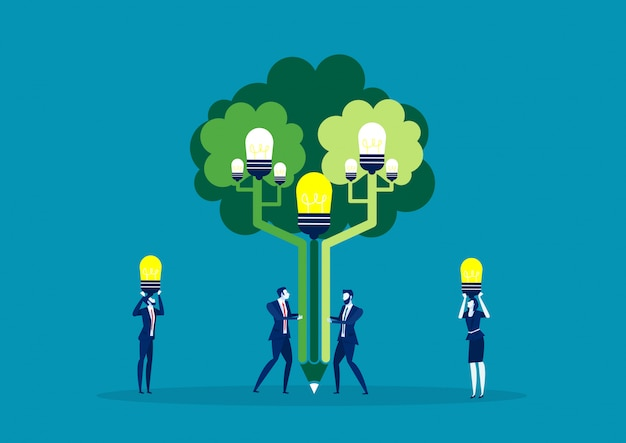 Zespół Pomysł Na Biznes Człowiek Roślin Na Drzewie Idei Dla Zielonego świata Premium Wektorów