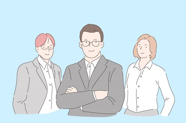 Zespół pracowników biurowych. pewni menedżerowie, godni zaufania koledzy w strojach stylowych, bankierzy, maklerzy giełdowi, prawnicy, zespół ekspertów agencji konsultingowych. proste mieszkanie