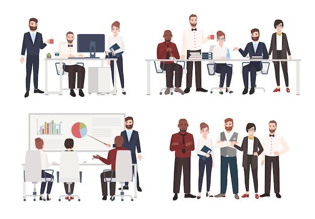 Zespół pracowników biurowych ubranych w służbowe stroje w różnych sytuacjach - praca przy komputerze, prowadzenie negocjacji, prezentacja