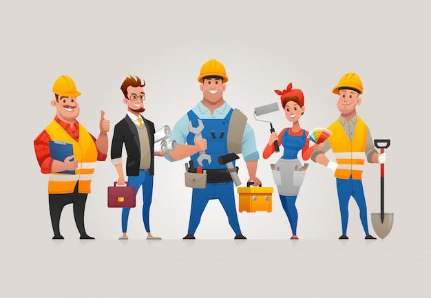 Zespół pracowników budowlanych