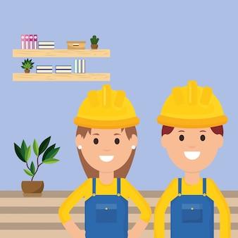 Zespół pracowników mężczyzna i kobieta pracownik zawód ilustracja