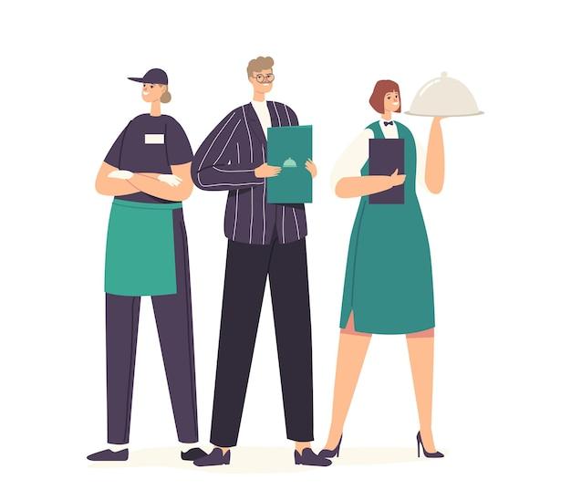 Zespół pracowników restauracji pozowanie. mężczyzna administrator z menu w rękach, kelnerka trzymając tacę z daniem pod pokrywką cloche, znaki personelu hotelarskiego w mundurze. ilustracja wektorowa kreskówka ludzie