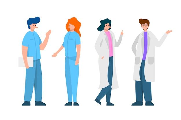 Zespół pracowników służby zdrowia rozmawia