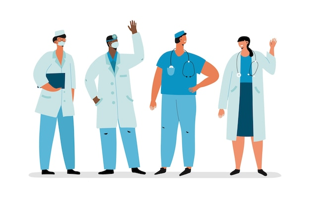 Zespół pracowników służby zdrowia w szatach medycznych