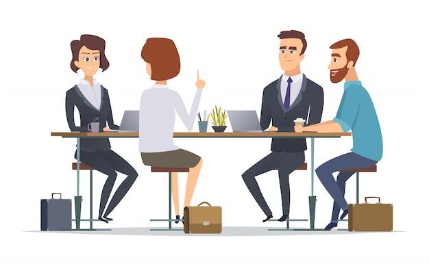 Zespół pracujący razem. biuro mówi narody menedżerowie biznes grupa dialog współpracownicy osoby
