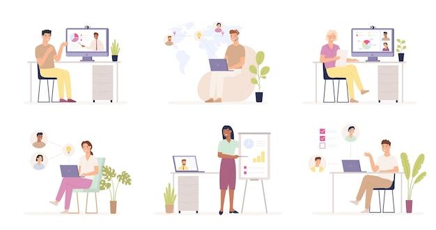 Zespół pracujący zdalnie. praca na odległość, użytkownicy w korporacyjnym systemie chmurowym, zdalne zarządzanie biznesem, globalny outsourcing online.