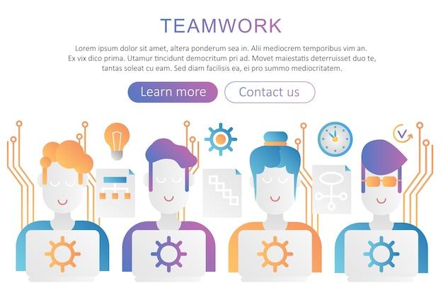 Zespół pracy modny płaski kolor gradientu plakat ilustracja koncepcja dla sieci.