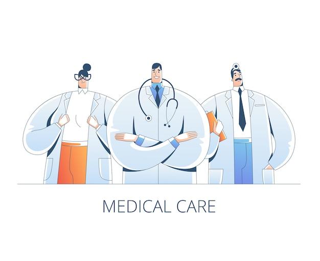 Zespół profesjonalnych lekarzy stoi razem. ręcznie rysowane ilustracje w stylu. na białym tle
