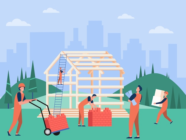 Zespół profesjonalnych stolarzy budowanie domu ilustracji wektorowych płaski. budowniczowie z kreskówek w ochronnych hełmach i mundurach pracujący z drewnianą konstrukcją. koncepcja budowy i pracy zespołowej