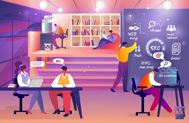 Zespół programistów internetowych w pracy. online startup group.